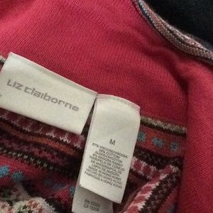 Liz Claiborne Sweaters - Angora Zip Up Rainbow Knit Nordic vibe Sweater